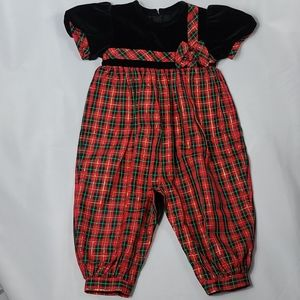 Vintage Plaid Christmas Romper Jumper Outfit